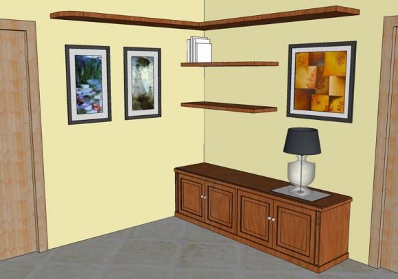 mobile soggiorno con mensole