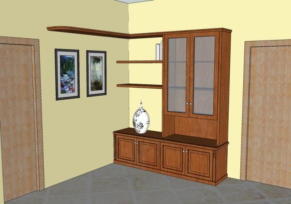 vetrina per soggiorno con mensole